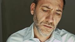 Sad businessman crying Stock Footage