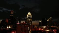 Timelapse of buildings at night in Austin, Texas, USA Stock Footage