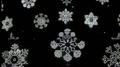 Abstract snow flakes on black background Stock Footage