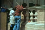 Logetta restoration, Venice, Italy, cleaning balustrades Stock Footage