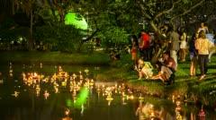 Timelapse view of Loy Krathong celebrations, Bangkok Stock Footage