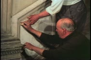 Scuola restoration, Venice, Italy, installing new marble in stairway Stock Footage