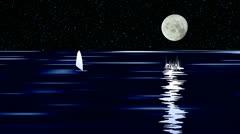 Yacht on sea in moonlight night. 3D Animation. Stock Footage