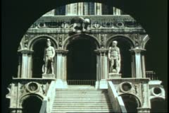 The Doge's Palace, Venice, Italy, stairs interior courtyard Stock Footage
