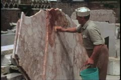Scuola restoration, Venice, Italy, marking pattern on upright slab of marble Stock Footage