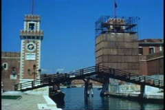 Arsenal, Venice, Italy, one tower covering in scaffolding, no people Stock Footage