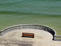 bench in san sebastian(donostia), spain - stock photo