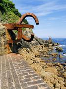 """sculpture """"peine de los vientos"""" in donostia-san sebastian - stock photo"""