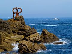 """Stock Photo of sculpture """"peine de los vientos"""" in donostia-san sebastian"""
