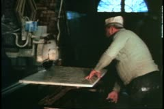Scuola restoration, Venice, Italy, cutting marble with saw Stock Footage