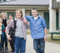 Smiling Caucasian school boys Stock Photos