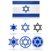 flag of israel and star of david - stock illustration