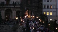 Prague Bridge 4 - stock footage