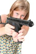 Stock Photo of girl machine gun isolated