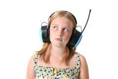 Stock Photo of girl earphones isolated protection