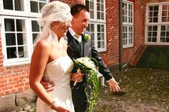 wedding couple rice - stock photo
