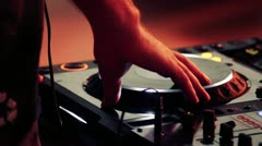Dj scratching at cd player Stock Footage