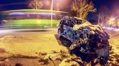Road accident. Crashed car on the road timelapse. Stock Footage