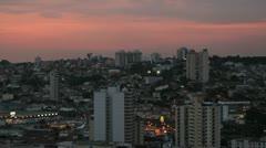 City View - Pink Sky. Sorocaba, Sao Paulo, Brazil. Stock Footage