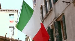 Italian flag blowing in wind - stock footage
