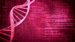 Purple DNA Helix with flying text - stock footage
