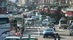Busy traffic in the main tourist district (Gion) in Kyoto, Japan Stock Footage