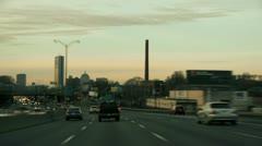 Fast Motion Expressway Boston Stock Footage