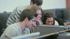 Students sitting and laughing Stock Footage