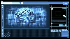 Digital interface featuring revolving brain in blue - stock footage