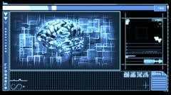 Digitaalisen liittymän mukana pyörivä aivojen sininen Arkistovideo
