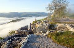 morning cloudy view from top of mangup ancient settlement - stock photo
