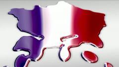 France liquid map, reflective flag Stock Footage