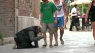 Person asking for money in Venice Italy Stock Footage