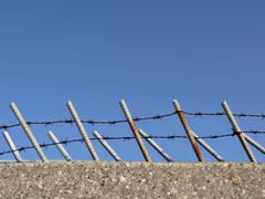 barbed fence - stock photo