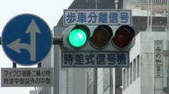 Traffic light turns red after orange and green in Japan Stock Footage
