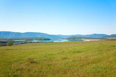 Spring mountain country landscape Stock Photos