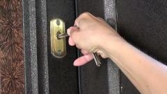 Trying to unlock door fail Stock Footage