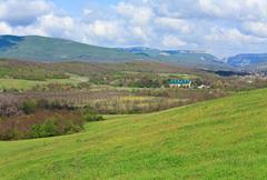 Country spring mountain landscape Stock Photos