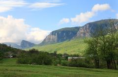spring country mountains landscape (crimea, ukraine) - stock photo