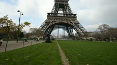 Eiffel Tower from Champs de Mars Stock Footage