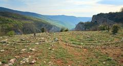 Concentric stone circles on spring plateau Stock Photos