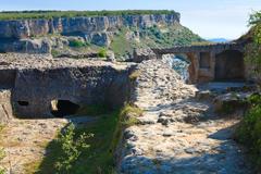 chufut kale ancient cave settlement (crimea, ukraine). - stock photo