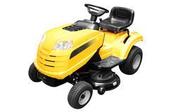 yellow lawn mower isolated.jpg - stock photo