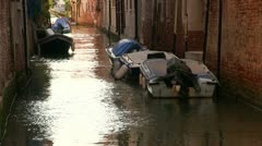 Venice Italy Canals with empty boats Stock Footage