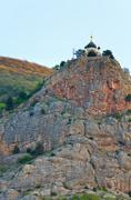 church on the edge of rock (crimea, ukraine) - stock photo
