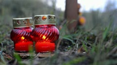 Candles On The Grave 3 Stock Footage