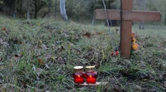 Put Candles On The Grave 1 - stock footage