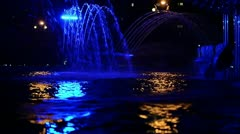 Colored Fountain In the Night 1 Stock Footage
