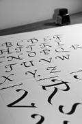calligraphic letters - stock photo