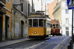 trams in lisbon - stock photo